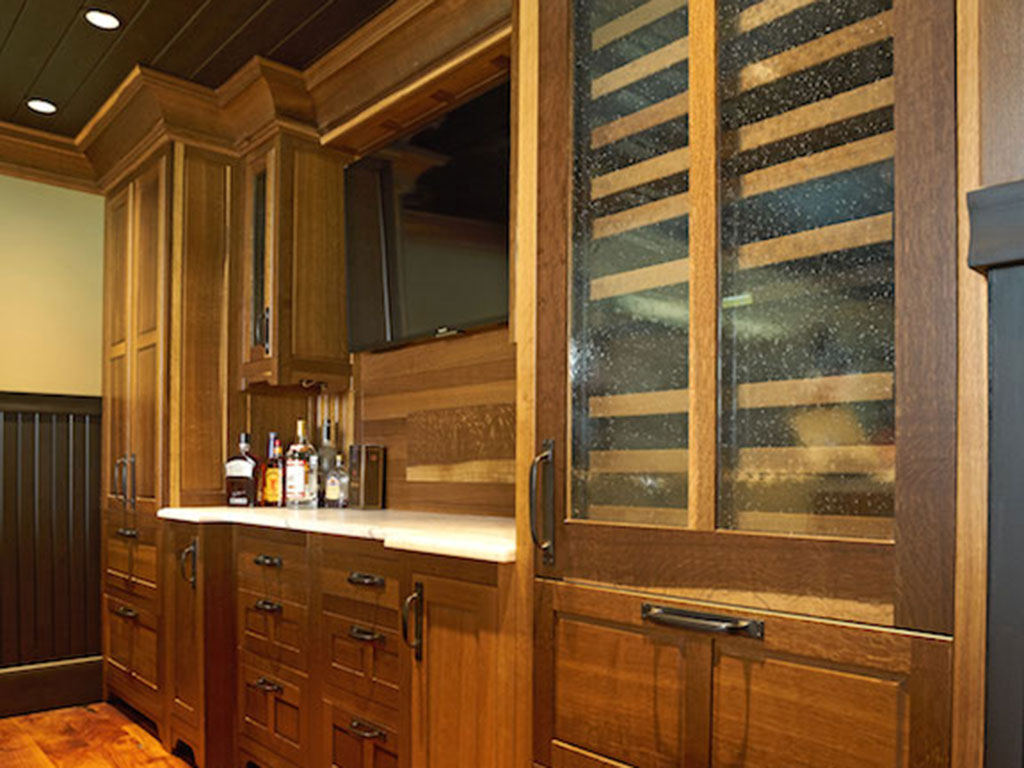 white oak built in home bar