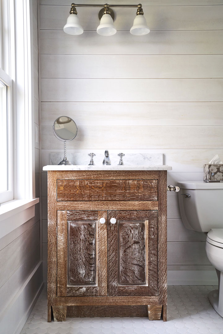 oak vanity with white glazing and marble top