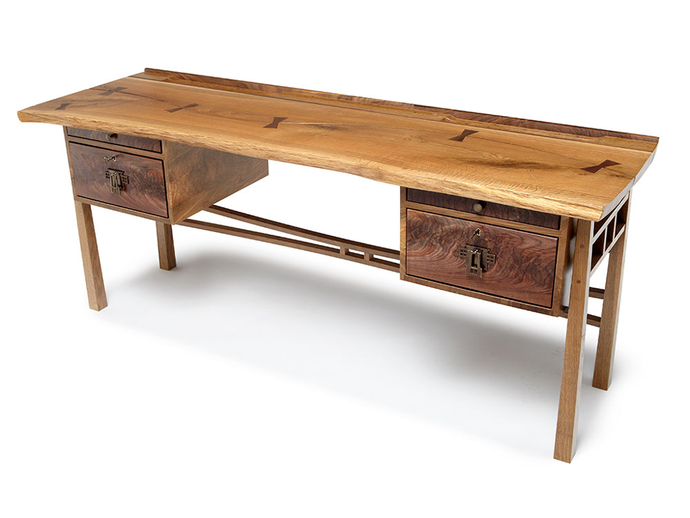 live edge oak writing desk with walnut drawer fronts