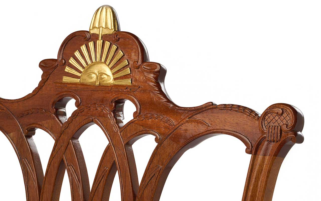 detail of rising sun chair carving