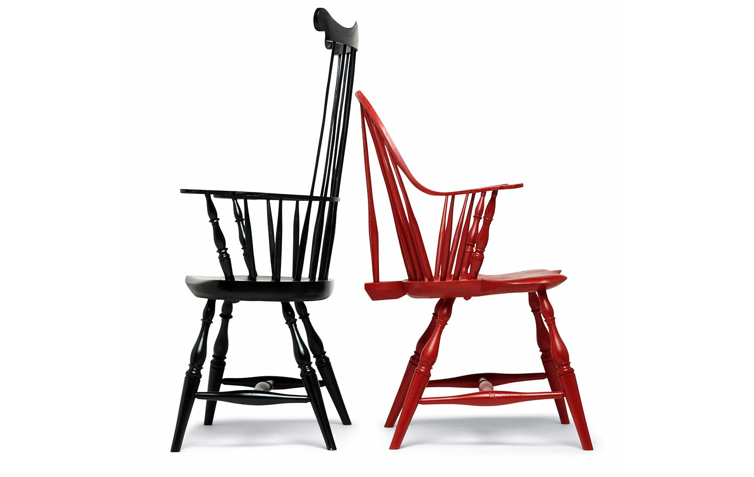 black comb-back red sack back Windsor chairs