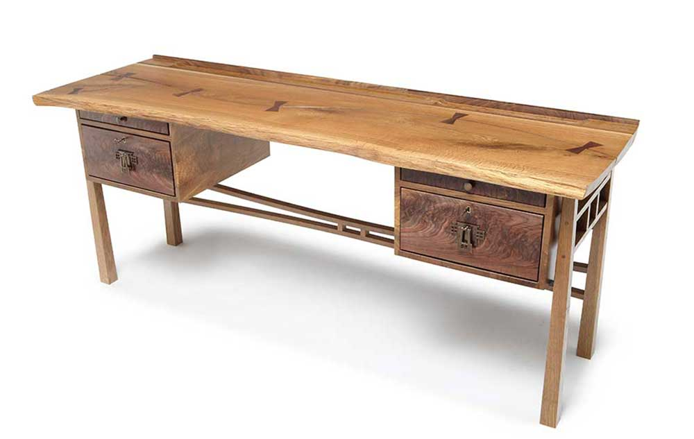 live edge oak top desk
