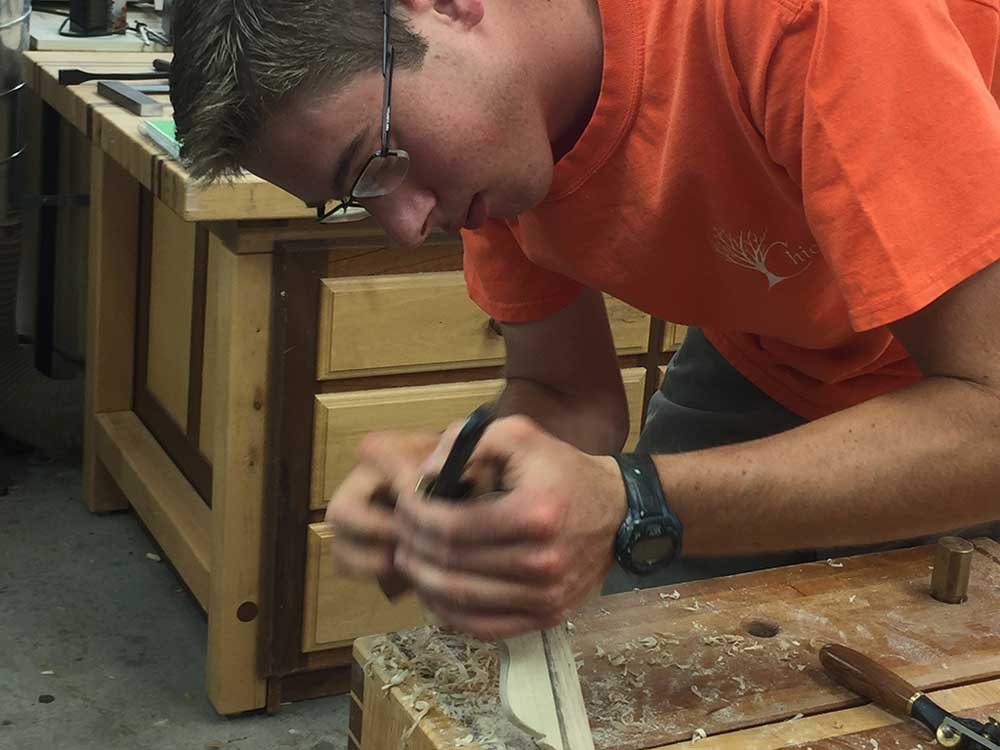 carving a Windsor chair hand