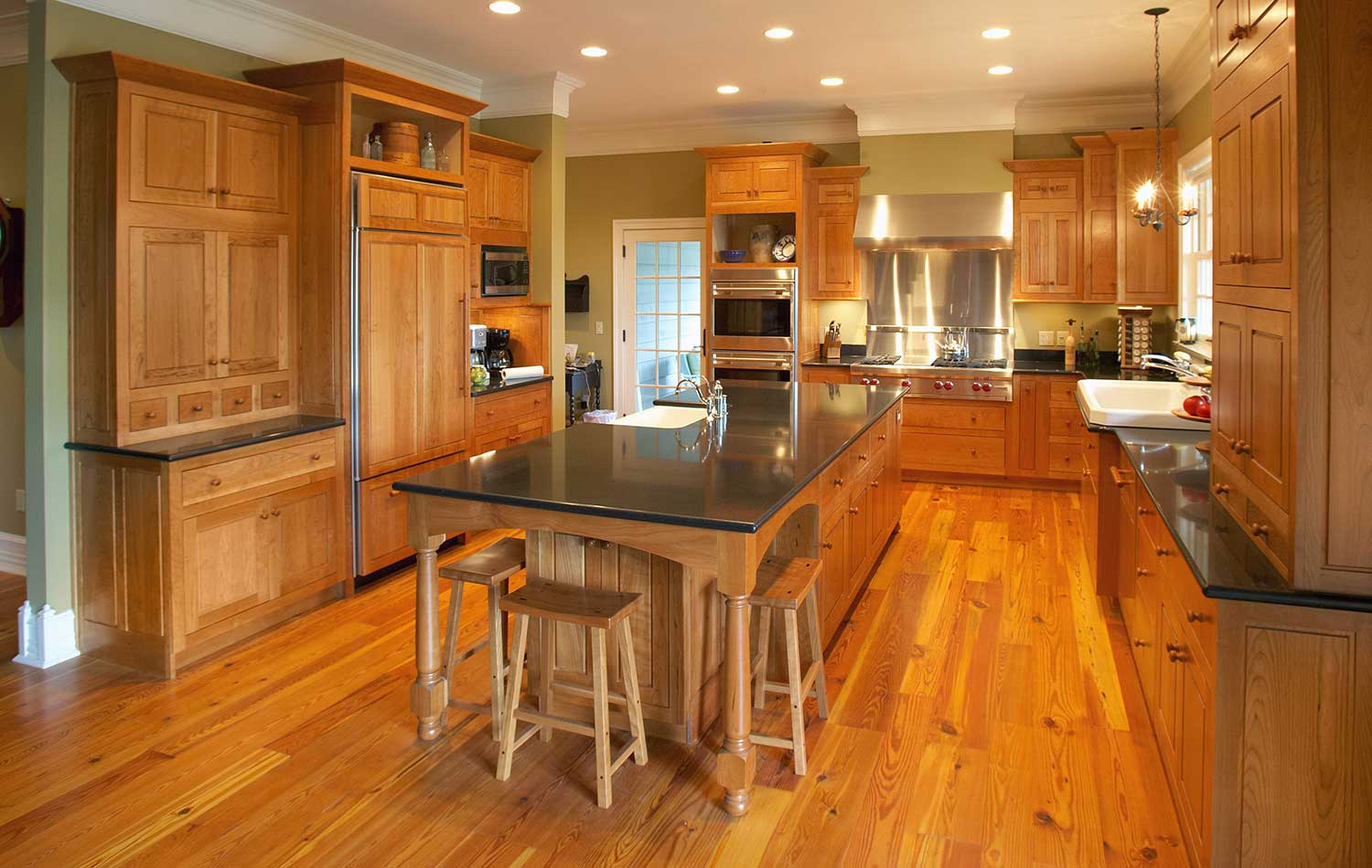 natural cherry shaker kitchen