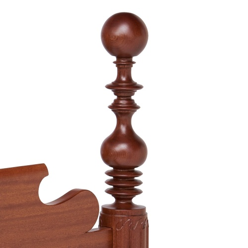Mahogany cannonball bed post detail
