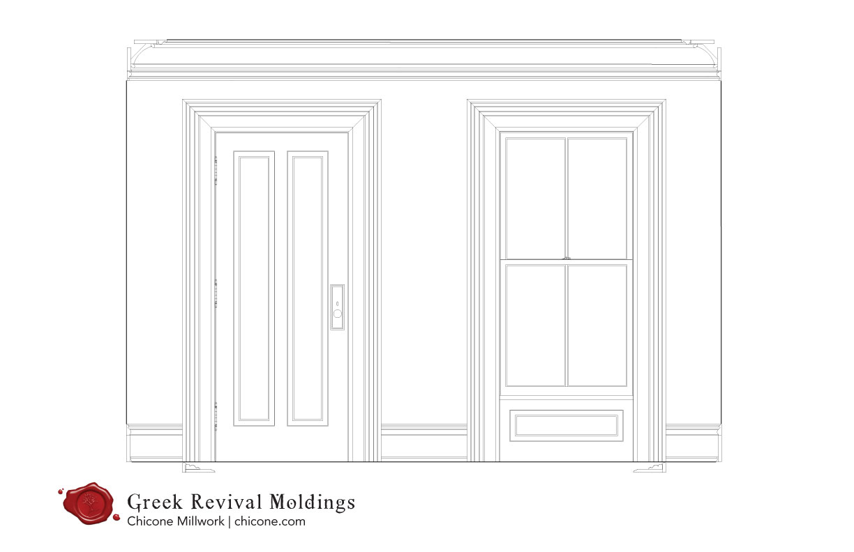 Greek revival door and window molding package