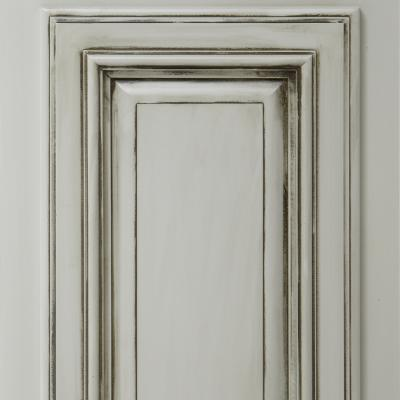 distressed kitchen cabinet door in gray lacquer and burnt umber