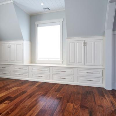 White painted built-in cabinetry