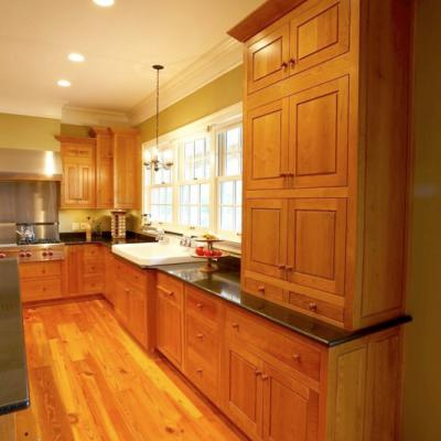 shaker kitchen in natural cherry wide view