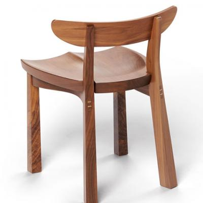 standard walnut serpentine chair rear view