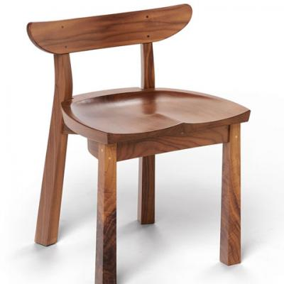 Standard walnut serpentine chair front view