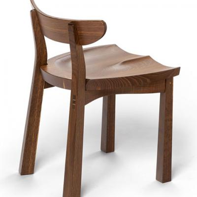 standard serpentine chair in fumed oak side view