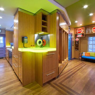 Pop art inspired Bamboo Kitchen lit countertop