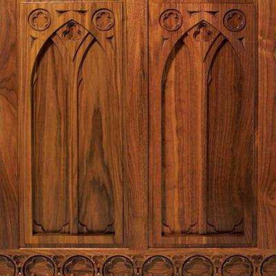 walnut carved panels Gothic style front view