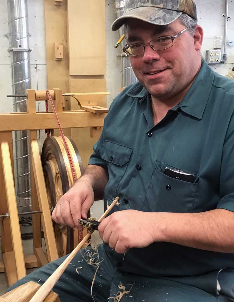 pulling spindles on a shave horse